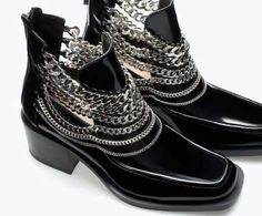 New Styles of Dark Boots With Chain 2015 For Young ladies