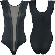 Womens Mesh Insert Panel Bodysuit Ladies Sexy Sleeveless Sheer Leotard 8-14 | eBay