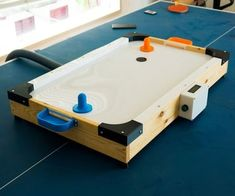 DIY Low Cost Air Hockey Table Best Picture For air hockey table repurposed For Your Taste You are looking for something, and it is going. Circuit Projects, Arduino Projects, Air Board, Air Hockey Games, Acrylic Panels, Pet Bottle, Wooden Blocks, Home Automation, Wood Screws