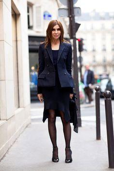 In Paris, Carine Roitfeld rocks an avant-garde blue blazer with her signature pencil skirt.