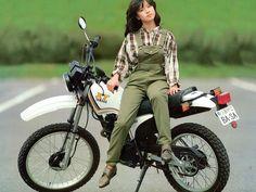 中森明菜 Lady Biker, Biker Girl, Asian Woman, Asian Girl, Tracker Motorcycle, Honda Bikes, Japanese Motorcycle, Scooter Girl, Cool Motorcycles