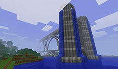 Really cool Minecraft building based on the brigde and waterfall - 03 Minecraft Blocks, Minecraft Stuff, Minecraft Pictures, Screen Shot, Skyscraper, Random Stuff, Waterfall, Building, Kids