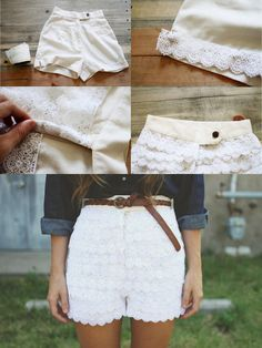 20 Diy Shorts For Crazy Summer, DIY Lace Shorts - I love this idea, because this way you can not only choose a pair of shorts that actually fit the way you want them to, but you get to choose the lace & the color- very cute. Diy Summer Clothes, Summer Outfits, Cute Outfits, Diy Outfits, Summer Shorts, Diy Shorts, Diy Fashion Projects, Sewing Projects, Diy Projects