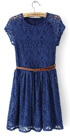 ROYAL BLUE LACE DRESS WITH CAP SLEEVES.....:D