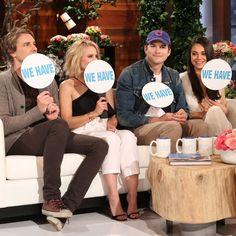 """Kristen Bell, Dax Shepard, Ashton Kutcher and Mila Kunis play """"Never Have I Ever"""" on Ellen."""