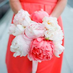 Bridesmaid (or bridal) bouquet. Peonies.