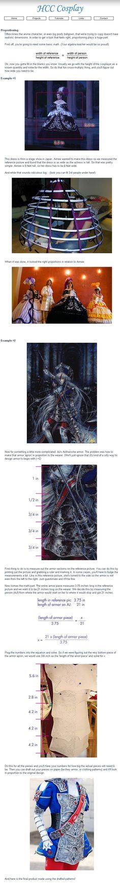 Cosplay Math: Determining proportions from a drawing or picture.