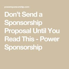 Don't Send a Sponsorship Proposal Until You Read This - Power Sponsorship Sponsorship Levels, Sponsorship Letter, Nonprofit Fundraising, Fundraising Ideas, Becoming A Blogger, School Spirit, Event Planning, Strategic Planning, Helpful Hints
