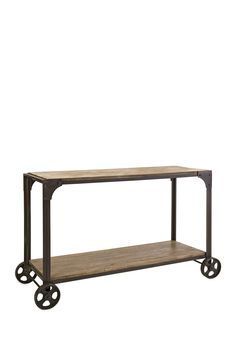 Utilitarian Metal Wood Console on Wheels