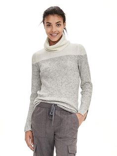 Colorblock Ribbed Turtleneck Product Image