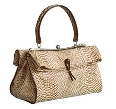 LIZETTE FRAMED BAG - Natural Snake-Print Italian Calfskin/Brown Trim from Johnston & Murphy