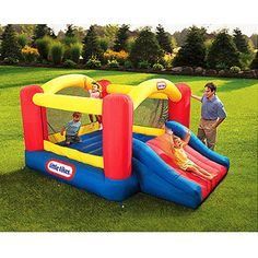 I have to get this for Brayden. Debating about getting it now while it's on sale and saving for his second birthday gift. Little Tikes Jump 'n Slide Bouncer
