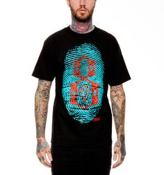 Black short sleeve t-shirt with screenprinted graphic of Mike Giant's en...