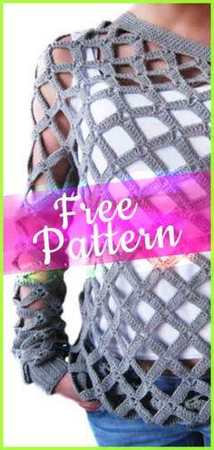 Crochet Off Shoulder Net Spring Sweater #crochetpattern #tutorialcrochet #easycrochet