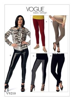 Vogue Patterns V9210 seamed skinny pants for two-way stretch knits.