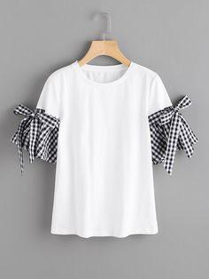 Shop Bow Detail Gingham Bell Cuff T-shirt EmmaCloth-Women Fast Fashion Online Fast Fashion, Diy Fashion, Fashion Online, Fashion Outfits, Womens Fashion, Fashion Trends, T Shirt Fashion, Trendy Tops, Casual Tops