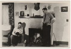 Vintage Snapshot Photo, 1930s: Home & Hearth, Two Men and a Dog at Cozy Fireplace by RetroGraphique on Etsy https://www.etsy.com/listing/197101249/vintage-snapshot-photo-1930s-home-hearth