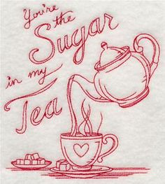 Machine Embroidery Designs at Embroidery Library! - Tea Time Would be cute hand stitched also.