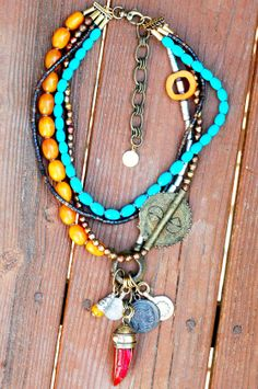 Custom Funky and Exotic Turquoise, Copal Amber, Wood, African Brass Disc, Coins and Tibetan Red Tusk Pendant Charm Necklace $425