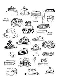 line drawing cake
