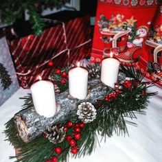 Christmas decoration #candles #wood #sleeves
