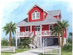 Coastal Home Plans - Cape Point I...Wow, 6 bedrooms! With screen porch and balcolny...no basements though...