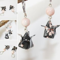 Etsy - Shop for handmade, vintage, custom, and unique gifts for everyone Origami Jewelry, Origami Paper, Origami Instructions, Origami Tutorial, Motifs Roses, Paper Watch, Origami Step By Step, How To Make Origami, Pearl Earrings