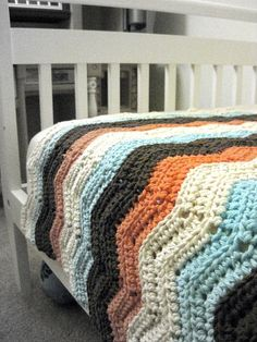 crochet pattern, easy chevron blanket