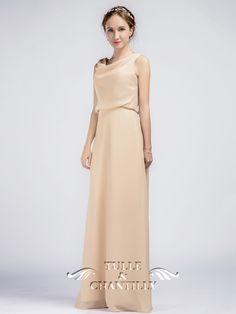 Elegant Long Length Palomino Cowl Neckline Bridesmaid Dresses