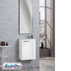 Fackelmann RONDO Badmöbel Set Gäste-WC Weiß (2-teilig) - Waschbecken links