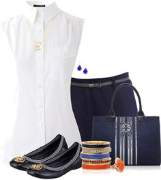 """Tory Burch Navy Flats"" by lmm2nd on Polyvore"