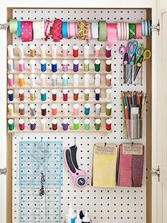 craft area storage - this will work somewhere!  maybe mount a medicine cabinet-sized cupboard in the craft room