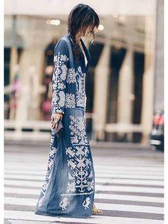 Turndown Collar Printed Colour Long Sleeve Coat - realyiyi.com Maxis, Dresses For Sale, Nice Dresses, Long Overcoat, Coats For Women, Mantel, Kimono Top, Womens Fashion, Long Sleeve