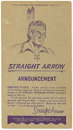 Nabisco Shredded Wheat Straight Arrow Card (1950) artist unknown. scanned and uploaded by Todd Franklin