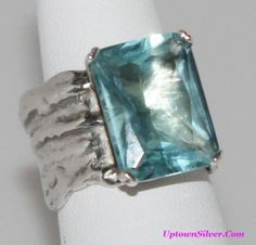 Silpada Artisan Jewelry Size 7.5 - 8 Large Aqua Blue Glass 925 Sterling Silver Cocktail Statement Ring B Retired Rare