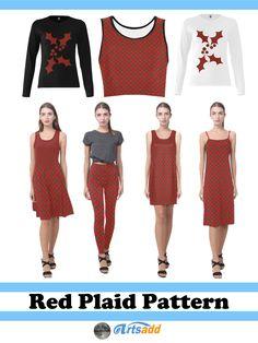 #Women's Fashion! Red And Black Tartan Plaid  Fabric Pattern womens fashion at #Artsadd by #Gravityx9 #WomensWear #womensfashion -