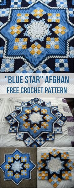 """Blue Star"" Afghan [Free Crochet Pattern] Adorable free blue star afghan pattern! #crochet #afghan #blueandwhite #freepattern #crochetlove #homedecorideas"