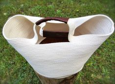 Cotton Rope with Leather Basket Bag by ShadesofJune on Etsy, $60.00