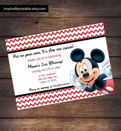 Mickey Mouse Birthday Party Invitation Digital by InspiredByMaddie, $10.00