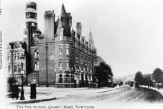 Picture postcard of The Fire Station, Queen's Road, New Cross c1905.