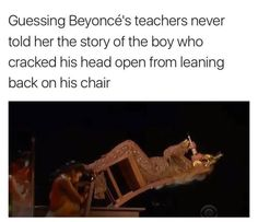 Omg my teacher, when I was in 7th grade, told my class and I a true story on how a kid cracked his head open because he placed both hands on two separate desks, lifted himself, and started swinging his body. He lost his grip and slammed his head on the floor. She said how he started walking lightly and mumbling and then he passed out with blood gushing from his head. They evacuated the whole classroom and he was sent to the hospital. I'm not sure whatever happened to him, but I hope he is…
