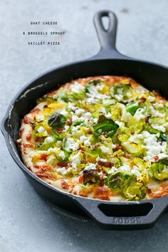 Goat Cheese and Brussels Sprout Skillet Pizza with a perfect crispy AND chewy crust to please everyone!