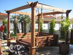Pergola with rope and bed swing outdoors | ... > Outdoor Products > Swingsets and Playsets > Outdoor Swingsets