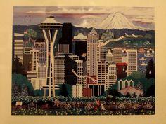 $30 Jennifer Lake Miller #Seattle The Emerald City Signed Print Folk Art #FolkArt