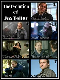 Jax! (Although I would change the order to Charming, Hopeful, Lost, Determined, Conflicted, Focused, Vengeful.)