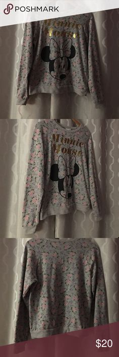 Grey flower Minnie Mouse sweatshirt. Grey floral Minnie sweatshirt, gold lettering. Only worn once Forever 21 Tops Sweatshirts & Hoodies