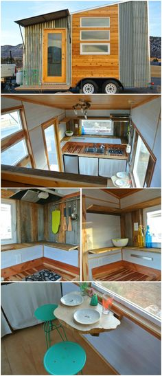 The Boulder is a lightweight tiny house designed and built by Rocky Mountain Tiny Houses in Durango, Colorado.  The kitchen layout consists of a wall to wall countertop made out of reclaimed aromatic cedar. There is a double sink, a two burner propane stovetop, a 4.3 cubic foot fridge, and lots of shelving below that is concealed with a simple sliding curtain.  The Boulder starts at $34,000 and can be customized to meet your needs, including 18′ or 20′ trailer options.