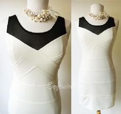 NEW Cream/Black Mesh Neckline Bandage Bodycon MOD Chic Sexy Classic Fit Dress $33.95