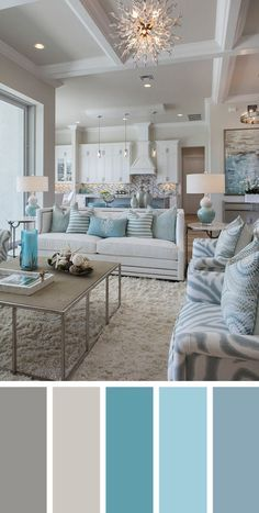 Add interest to your living room with a fresh living room color scheme ideas. Living room color schemes that will make your space look professionally designed. Browse our living room color inspiration gallery to find best color & paint palette ideas. Coastal Living Rooms, Living Room Interior, Home And Living, Beach Living Room, Cozy Living, Living Area, Living Room Decor Blue, Coastal Bedrooms, Living Room Ideas Light Blue