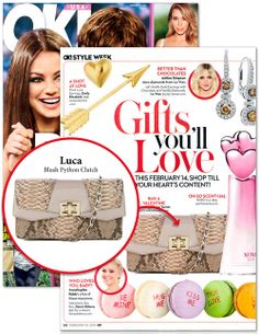 Luca Blush Python Clutch featured in OK! Magazine would make the perfect Valentine's Day present!